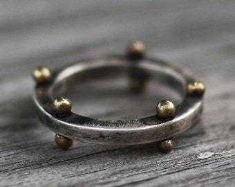 rustic ring, industrial ring, vintage ring, word ring, silver ring, brass decorated ring, brass ball
