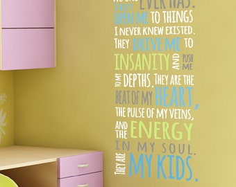 VINYL They know me ... my kids wall lettering decal beat of my heart