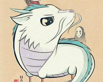 Chibi Ghibli Print - Haku (Spirited Away)