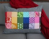 Rainbow, Quilted Pillow, Patchwork Pillow, Throw Pillow, Decorative Pillow