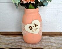 wedding centerpiece, rustic wedding mason jar, burlap flower and lace mason jar centerpiece, rustic wedding decor, mason jar centerpiece