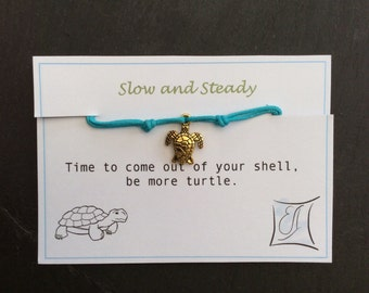 Turtle Bracelet - Turtle Friendship Bracelet - Slow and Steady - Adjustable Bracelet