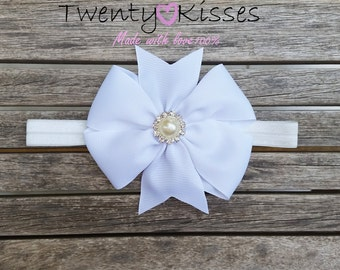 Newborn bows,newborn headband,Baby bow,photo prop, baby headband,Big bow headband,pearl bow,headband bow,bow baby girl,CHOOSE YOUR COLOR