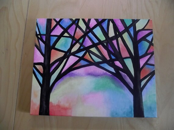Abstract Trees Water Color Painting