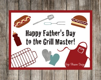 "Printable Fathers Day Card - ""Happy Father's Day"" - Grill Master - Dad's BBQ - Instant Download - Digital"