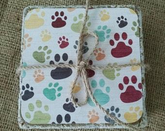 Dog Coasters, Dog Paw Coasters, Cat Paw Coasters, Puppy Paw Coasters, Paw Print Coasters, Pet Coasters, Animal Coasters, Stone Coaster Set