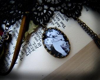 Bela Lugosi Dracula Black Lace Bronze Cabochon Choker with Chains // Goth // Victorian // Horror