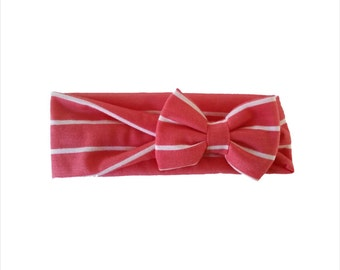 Coral and white stripe baby headwrap baby headband with bow