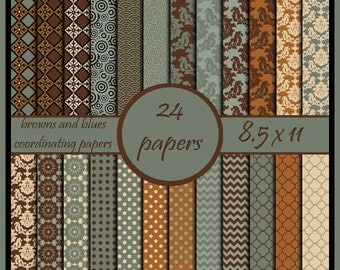 damask diamond chevron polka dot digital scrapbook paper brown blue cream burnt orange coordinating scrapbook paper pack