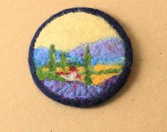 Needle felted brooch,felt brooch, felted landscape, pin, felt jewellery, wool brooch, for her, miniature art, felted badge