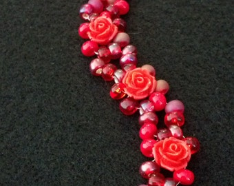 Red Rose Bracelet w/ Toggle Clasp