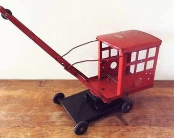 Vintage Triang Tinplate Crane, Triang Toy Crane, 1950s Childrens Toys, Vintage Toys