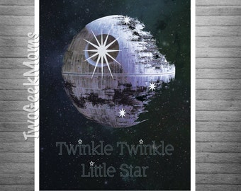 "Star Wars Nursery - Twinkle Twinkle Little Star - Death Star - Nursery Art - Wall Art Print - 8x10"" 11x14"" 16x20"" 20x30"""