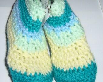 Childs Crochet Green Lemon Slippers