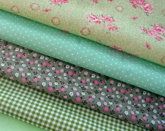 SALE!!! Fabric Bundle GREEN Fat Quarter Cotton Quilting Material Craft Supply - Quality 100% Cotton Cloth - Floral,Gingham,Sage,Pink,Spring