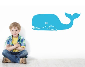 Whale Under the Sea Wall Decal - Whale Wall Decal - Childrens Room Wall Decal - Whale Wall Sticker - Vinyl Wall Sticker