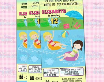 Swimming Pool Party  Ticket Invitation