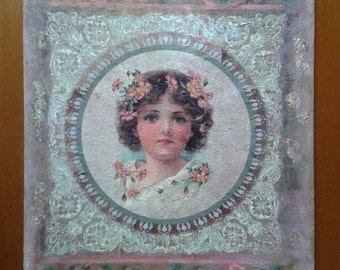 vintage ryce paper print on canvas-angel