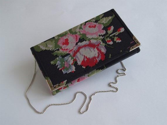 Clutch Purse Pattern Floral Fabric Black And Red By LudaMelnick