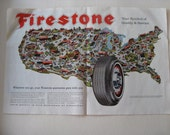Firestone Auto Ad, 1963 Travel around the USA on Firestone Tires, Road Trips and Family Vacations, Sightsee on Route 66, highway trucking