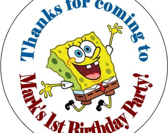 SpongeBob Square Pants Sponges Bob Theme Birthday Party Stickers 2.5 inch Round Personalized kids