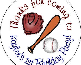 12 Sports Baseball Theme Birthday Party Stickers 2.5 inch Round Personalized kids