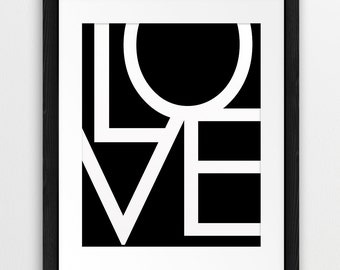 Love - Typography Printable File, Word Art, Love Sign, Love Letters, Black  And White Wall Art, Modern Wall Art, Typography Download Art
