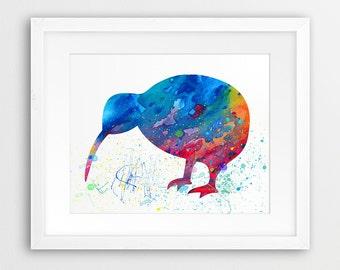 Kiwi Bird Watercolor Print, Cute Kiwi Bird Silhouette Colorful Blue Cyan Red Orange, Modern Wall Art, Nursery Decor, Kids Room Printable Art