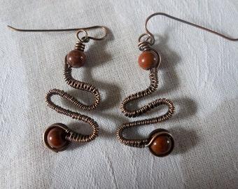 Red Jasper Wire Wrapped Earrings
