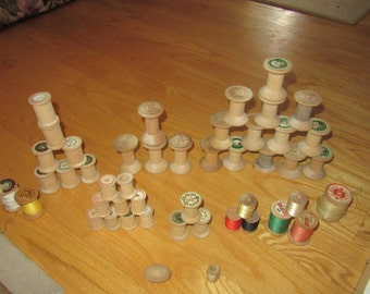 Vintage Wooden Spool Assortment (Lot of 47)