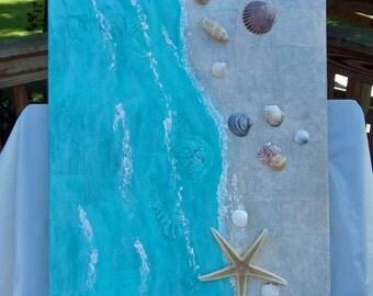 Mixed Media Canvas - Beach - Seashells - Starfish - 16 x 20