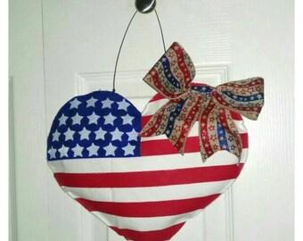 DIY canvas heart Fourth of July door hanger