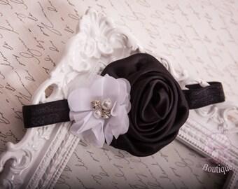 Black and White baby headband, baby headband, handmade headband, elegant headband