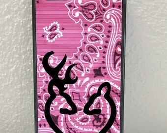Pink Paisley Flowers Browning Deer Doe Heart iPhone,Samsung,LG, Motorola Phone Case, iPhone 4/5/5c/5s/6/6 plus, Samsung S3, S4, S5, S6
