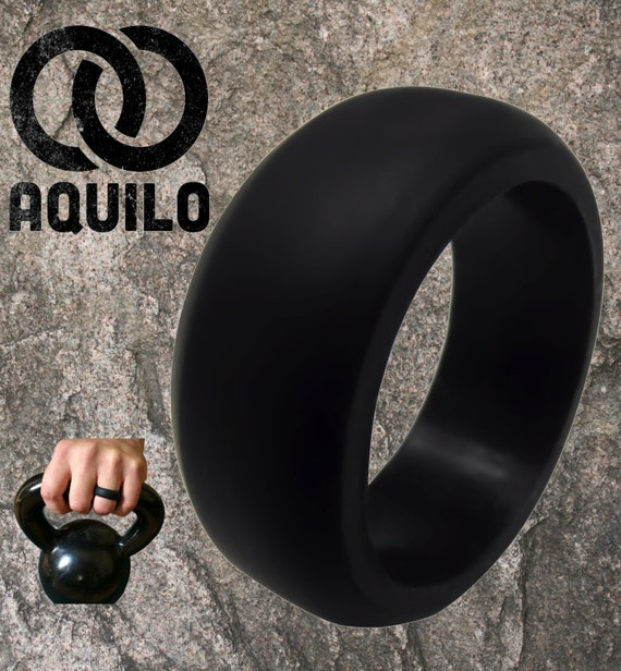 Aquilo Mens 9mm Silicone Wedding Ring Band By Aquilorings