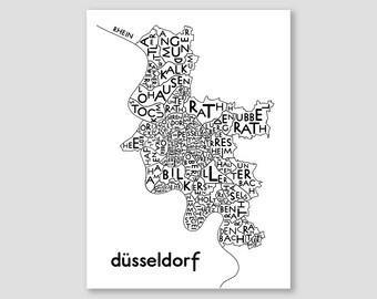 Dusseldorf Duesseldorf Citymap, Germany Map, Graphic Art, Poster, Print, Gift ,Stadtplan