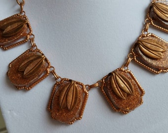 Copper Bib Necklace - Copper Leaf Necklace- Unique Necklace- Tribal Jewelry-  Metal Statement Necklace- Leaf Jewelry