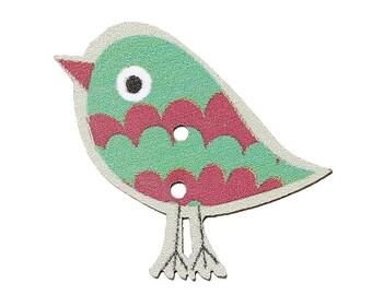 15 x 30mm 2 hole cute wooden bright bird buttons