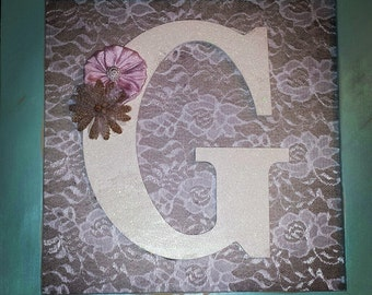 Shabby Chic, Rustic Framed Initial