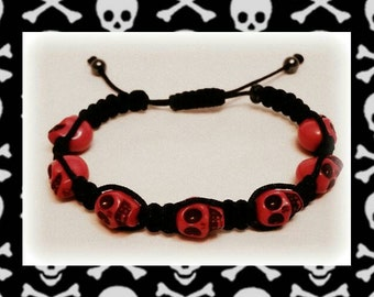Pink Skulls Shamballa Bracelet