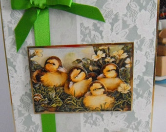 Birthday Card, Greeting Card, Ducklings in Grass, Birds, 3D Decoupage,  Female, Any Age, Mum, Daughter, Niece, Sister, Aunt