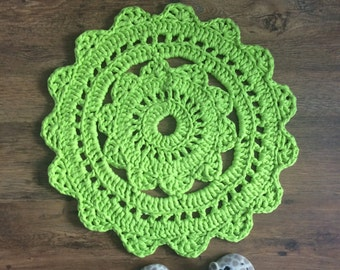 15% OFF SALE Crochet Doily Rug - Lime Green