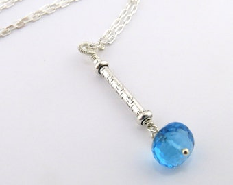 Swiss Blue Topaz Necklace Sterling Silver Necklace Long Drop Necklace Chakra Necklace Chakra Jewelry Fifth Chakra Necklace