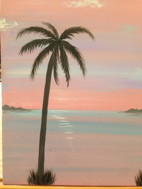 Items similar to 16x20 hand painted abstract palm tree for Painting palm trees