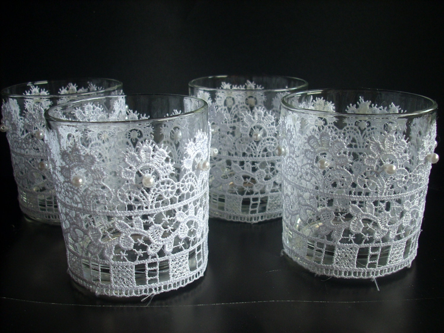 Candle holder set of rustic lace votive