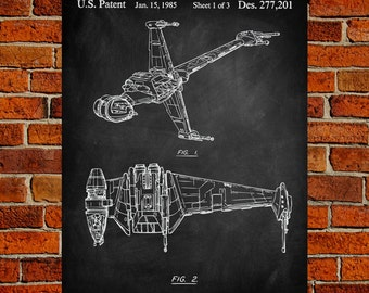 Star Wars Art Print, B-Wing Patent, B-Wing Vintage Art, B-Wing Blueprint, B-Wing Poster, B-Wing Print, B-Wing Wall Art, B-Wing Decor
