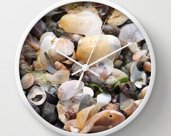 Shells, Photo Wall Clock,Beige, White,Modern Wall Clock,Retro Wall Clock,Home Decor,Round Clock,Beach Clock,Home Accessories,Interior Design