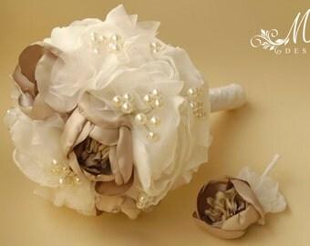 Ivory bridal bouquet, bridal bouquet set, wedding bouquet, bridal handmade bouquet with groom boutonniere, pin, brooch
