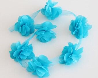 Light Blue Fabric Flowers, Chiffon Flowers, 5 Pieces Crepe Flower Applique