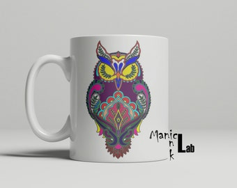 Colorful Mandala Owl Mug